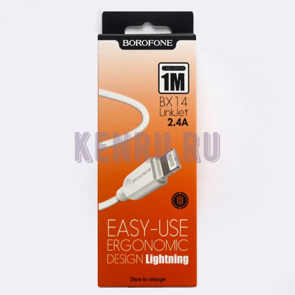 Borofone Кабель BX14i LinkJet USB Lightning 1м Белый