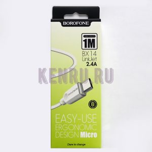 Borofone Кабель BX14m LinkJet USB Cable Micro 1м Белый