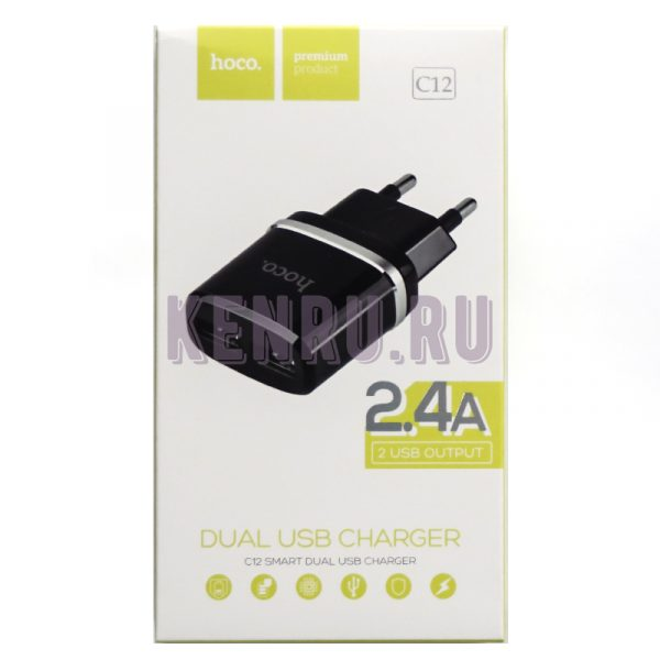 hoco C12 Блок Smart dual USB charger 2,4 A