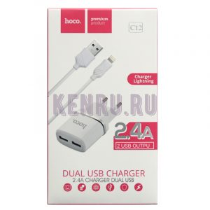hoco C12 Блок + кабель Smart dual USB Lighting cable iPhone 2,4 A Белый