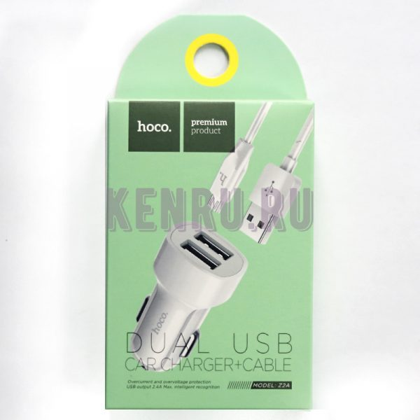 Hoco Z2A Автомобильное зарядное устр-во + кабель microUSB Белый two-port Car charger set with micro cable