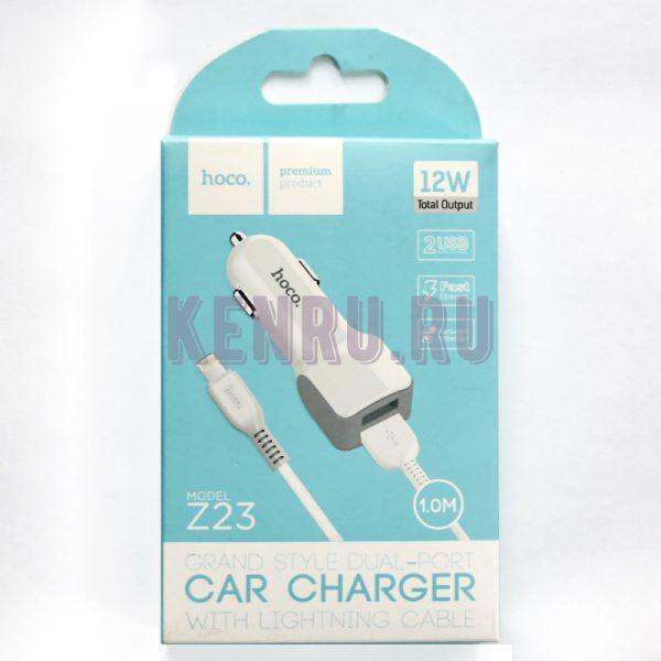 Hoco Z23 Автомобильное зарядное устройство + кабель iPhone
