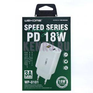 WK Desing WP-U101 SPEED SERIES PD 18W Блок 3A Type-C+USB 3A White