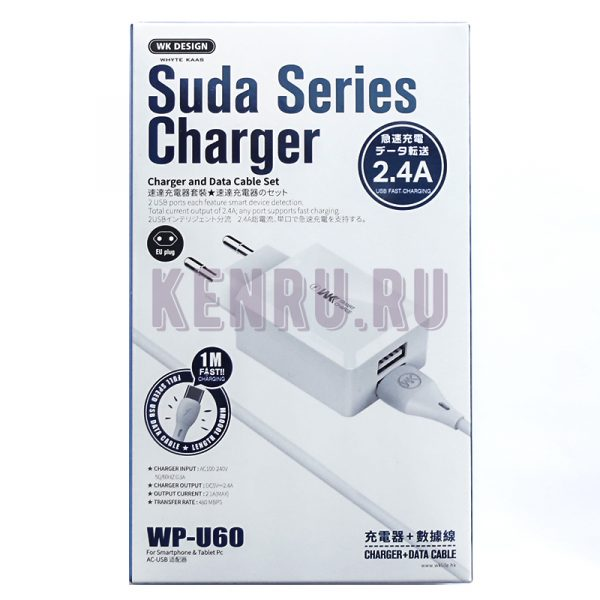 WK Desing WP-U60a Suda Series Charder Блок 5V 2 USB + кабель Type-C 2,4A White