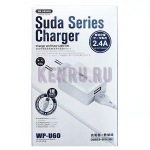 WK Desing WP-U60m Suda Series Charder Блок 5V 2 USB + кабель Micro 2,4A White