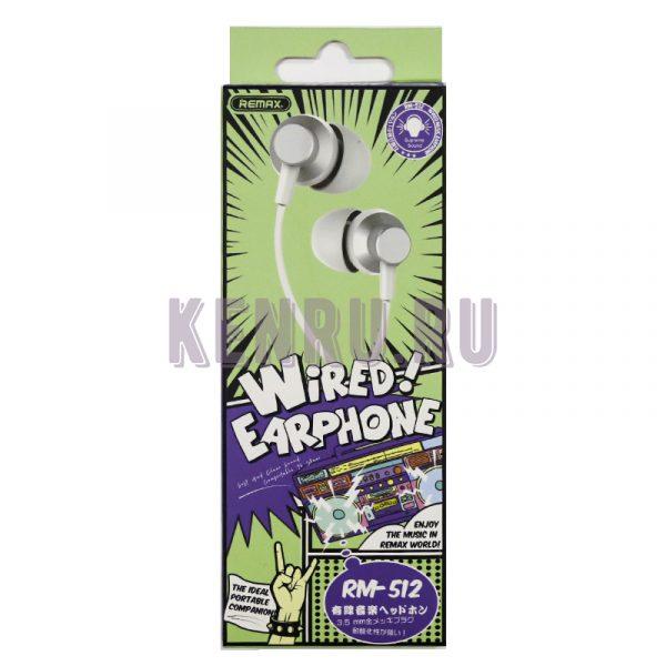 REMAX RM512 Earphone Наушники c микрофоном White
