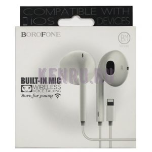 Borofone Наушники BM11 AirMelody Lightning Voice Talking Earphone Белый