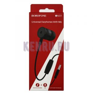 Borofone BM31 Наушники Universal Earphones With Mic 1M Black