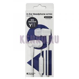 WK Design Y11 Hearphone w/mic Наушники c микрофоном White