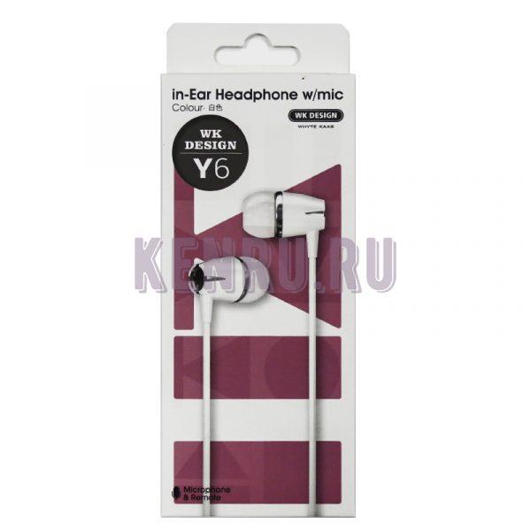 WK Design Y6 Hearphone w/mic Наушники c микрофоном White