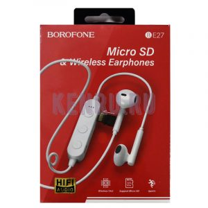 Borofone BE27 Наушники беспроводные Micro SD+Wireless Earphones White