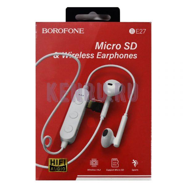 Borofone BE27 Наушники беспроводные Micro SD+Wireless Earphones White