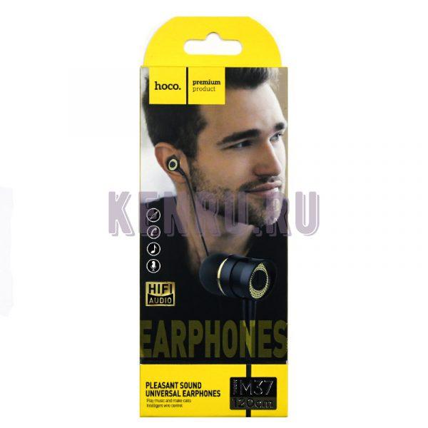 Hoco M37 Наушники pleasant sound universal earphones with microphone Black