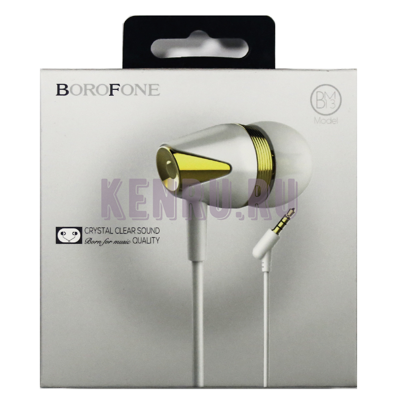 Borofone Наушники BM13 Coolmelody universal wired Белый