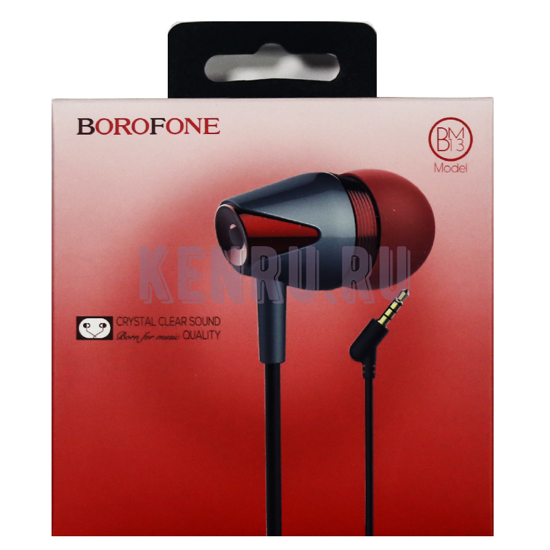 Borofone Наушники BM13 Coolmelody universal wired Красный