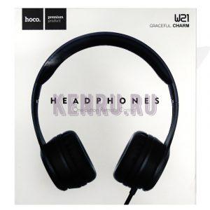 Hoco W21 Headphones One-button Remote Control Наушники большие Black