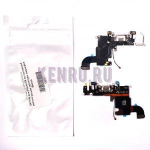 Шлейф для iPhone 6S на системный разъем разъем гарнитуры микрофон Белый