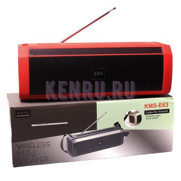 KMS-E63 Колонка+радио Красный
