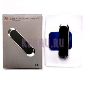 Автомобильный держатель F6 магнитный универсальный Silver ALL USE