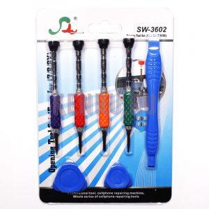 Набор инструментов SW-3602 для iPhone 4/4S/5/6/6S/7/8/x/ipad (отвертки, присоска, медиатор) 7в1