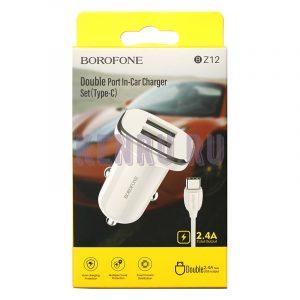 Borofone BZ12 Автомобильное зарядное устройство + кабель Type-C White