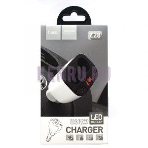 Hoco Z28 Автомобильное зарядное устройство USB*2 LED Display White