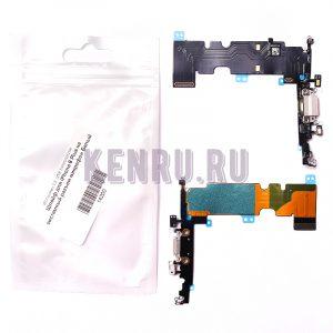 Шлейф для iPhone 8 Plus на системный разъем микрофон Белый