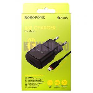 Borofone Блок питания Orion single BA48A Micro 2.1A Black
