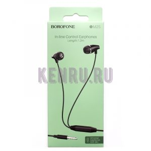 Borofone Наушники BM25 In-line Control Earphones 1.2m Черный