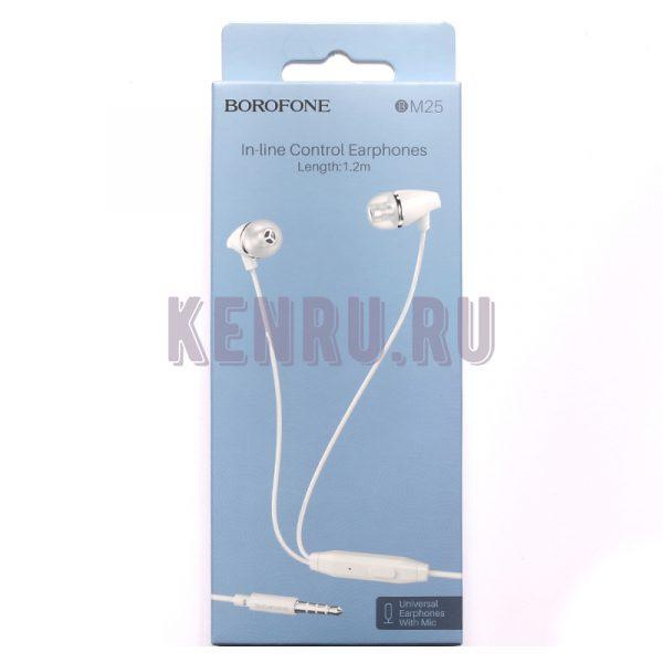 Borofone Наушники BM25 In-line Control Earphones 1.2m Белый