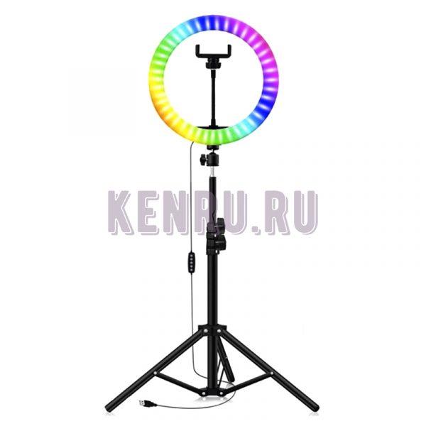 Кольцевая светодиодная лампа RGB MJ 33 со штативом