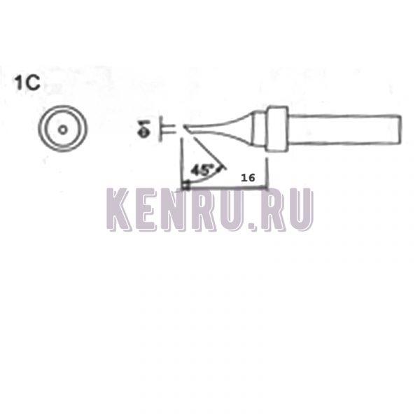 Жало индукционных паяльников Quick Kasadi Yaogong Temp Bonkonte 203 203H 204 204H 376 376D 712 Ф1 16mm 45°