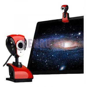Веб-камера HD Camera проводная микрофон прищепка красно-черная