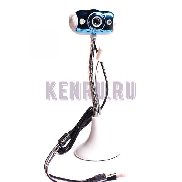 Веб-камера HD Camera проводная микрофон белая-синяя