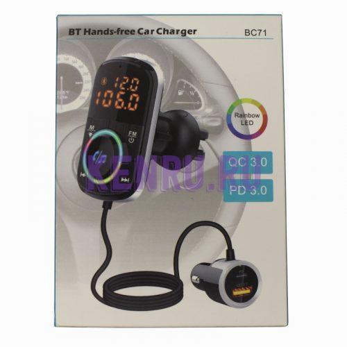 Автомобильное зарядное устройство BC71 USB 3.0 Type-C FM MP3